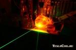 Луч зелёного лазера в родамине 6Ж