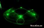 Луч зелёного лазера в большой линзе